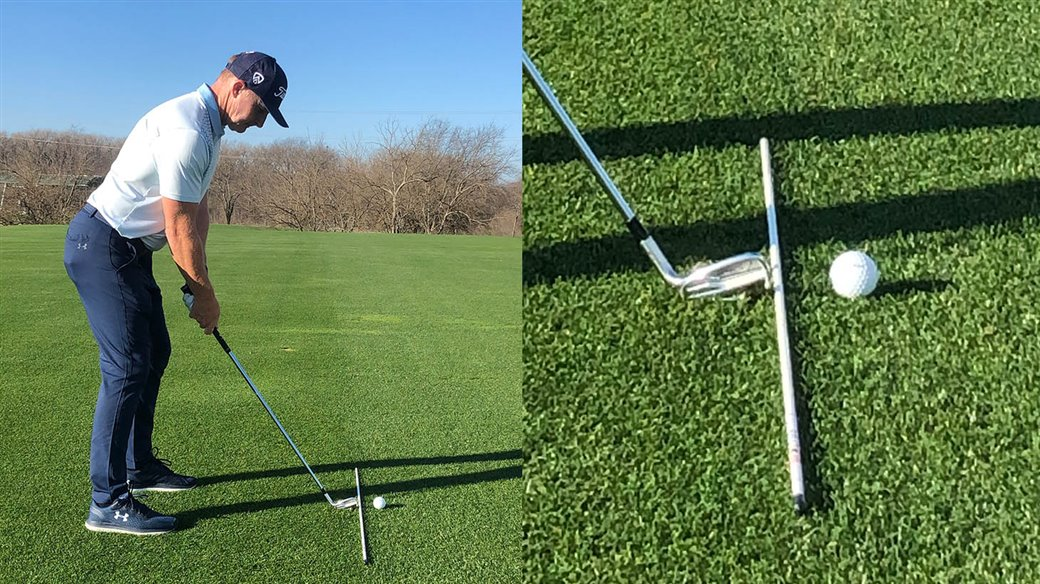 Titleist staff instructor demonstrates how to set up his Jump The Fence Drill for golfers who struggle with toe-biased face contact.