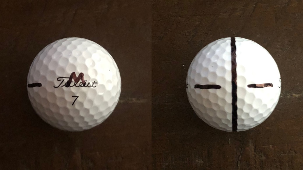 Lanto Griffin's marked Pro V1 golf ball